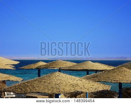 Many thatched canopies on the beach, Egypt, Sahara desert
