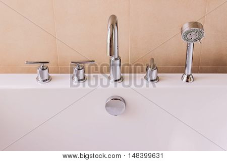 Valves faucet and shower head of of modern style bath tub