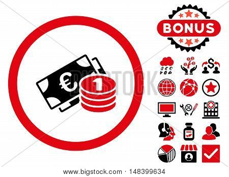 Euro Money icon with bonus elements. Vector illustration style is flat iconic bicolor symbols, intensive red and black colors, white background.