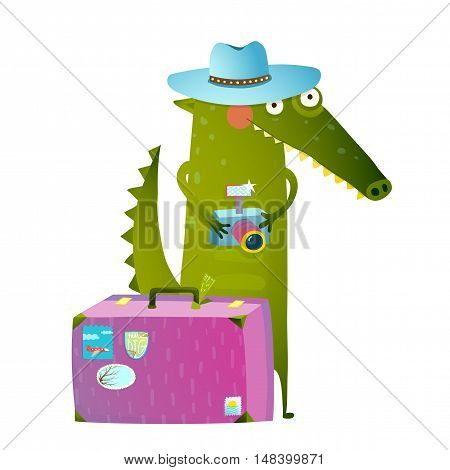 Cute green crocodile tourist with blue hat, suitcase and camera. Funny wildlife. Cartoon characters for children animals greeting cards and other projects. Vector illustration in bright colors