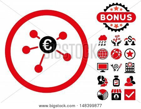 Euro Payments icon with bonus elements. Vector illustration style is flat iconic bicolor symbols, intensive red and black colors, white background.