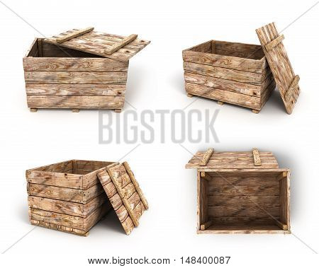 Collection Of Old Wooden Box 3D Render On White Background