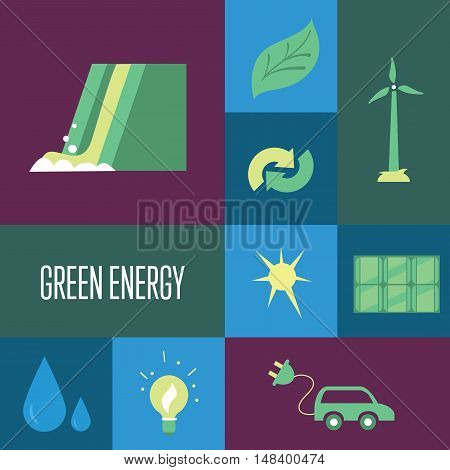 Green energy vector icons set suitable for info graphics, websites and print media. Power and ecological symbols on color background. Eco elements collection. Green lifestyle