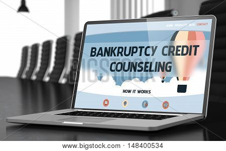 Laptop Screen with Bankruptcy Credit Counseling Concept on Landing Page. Closeup View. Modern Meeting Hall Background. Blurred Image. Selective focus. 3D Rendering.
