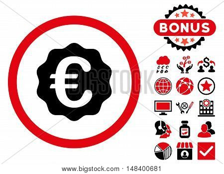 Euro Reward Seal icon with bonus elements. Vector illustration style is flat iconic bicolor symbols, intensive red and black colors, white background.
