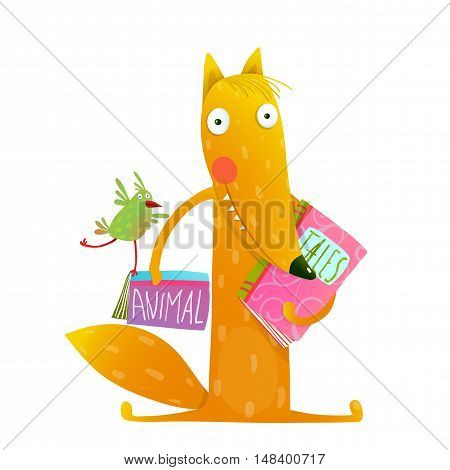 Cute red fox and birdie sitting and reading books. Wildlife brightly colored hand drawn watercolor style picture on white background. Vector illustration.