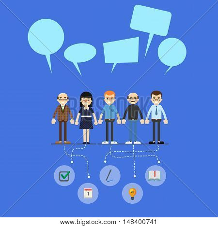 Social network and teamwork banner with group of communication people, vector illustration on blue background. Infographic design. Mind map team. Strategic partnership. Problem solving process