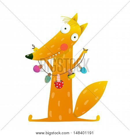 Cute red fox holding dried mushrooms on string. Wildlife brightly colored with food. Vector illustration hand drawn on white background. Cartoon character for children books, greeting cards and other projects