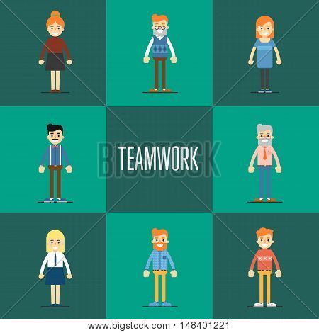 Smiling young cartoon people characters stand on green background. Teamwork concept, isolated vector illustration in flat design. Collaboration and partnership, working together. Business team