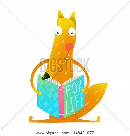 Cute red fox sitting and reading book - Fox life. Wildlife brightly colored hand drawn watercolor style picture on white background. Vector illustration.