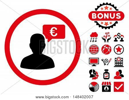 European Person Opinion icon with bonus pictogram. Vector illustration style is flat iconic bicolor symbols, intensive red and black colors, white background.