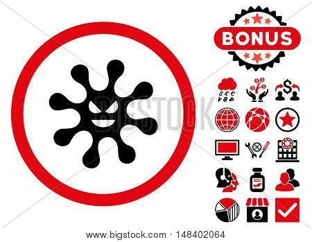 Evil Bacteria icon with bonus elements. Vector illustration style is flat iconic bicolor symbols, intensive red and black colors, white background.