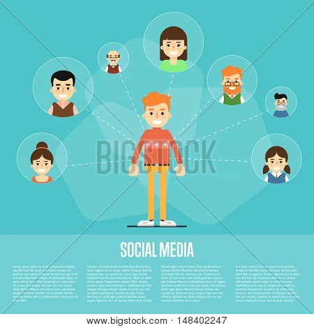 Smiling cartoon boy with own successful social network. Social media banner on blue background, vector illustration. Connecting people. Teamwork concept. Project coordination. Business team