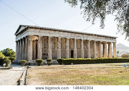 Temple of Hephaestus in Ancient Agora Athens Greece