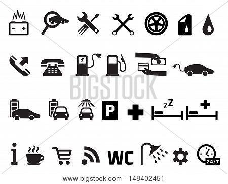 Roadside services transportation black icons vector set