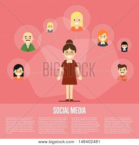 Smiling cartoon woman with own successful social network. Social media banner on red background, vector illustration. Connecting people. Teamwork concept. Virtual communication. Media marketing