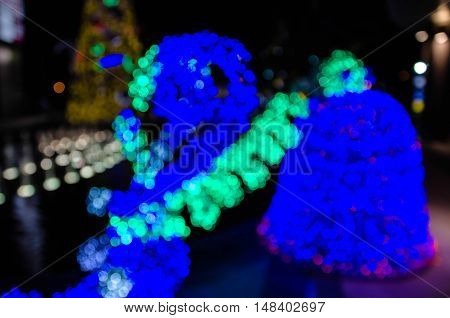 Abstract colorful bright bokeh background of Christmaslight