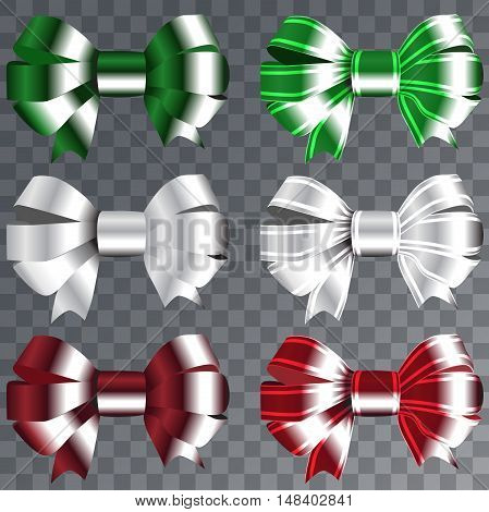 Ribbons set for Christmas gifts. Red gift bows with ribbons vector illustration. Red gift ribbons and bows for New Year celebrate. Christmas ribbons, christmas gifts. Birthday ribbons, birthday gifts