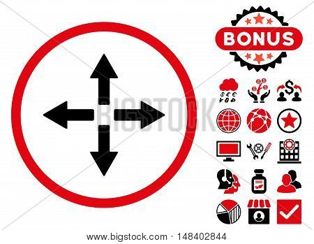 Expand Arrows icon with bonus pictures. Vector illustration style is flat iconic bicolor symbols, intensive red and black colors, white background.