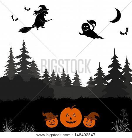 Holiday Halloween Landscape, Witch on Broom, Ghosts and Bats Flying Over Forest and Pumpkins Jack-o-Lantern, Black Silhouettes Isolated on White Background. Vector