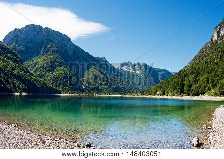 Lago del Predil (Predil Lake). Small mountain lake in Julian Alps Tarvisio Friuli Venezia Giulia Italy