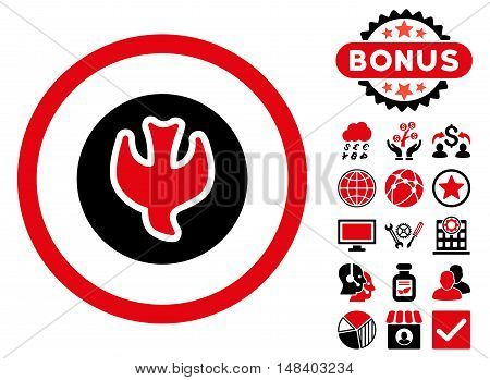 Falling Soul icon with bonus symbols. Vector illustration style is flat iconic bicolor symbols, intensive red and black colors, white background.