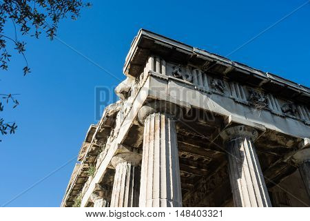 Detail of the temple of Hephaestus in Ancient Agora Athens Greece