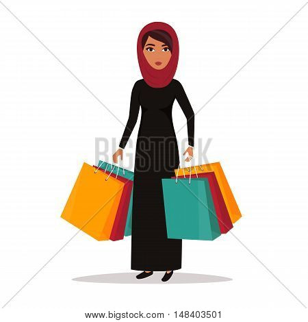 Muslim Arab Woman with shopping bags. Shop sale vector illustration.