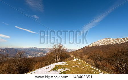 Peak of Monte Baldo in winter (Baldo Mountain) 2218 m. and Italian Alps near the Garda Lake Verona Veneto Italy