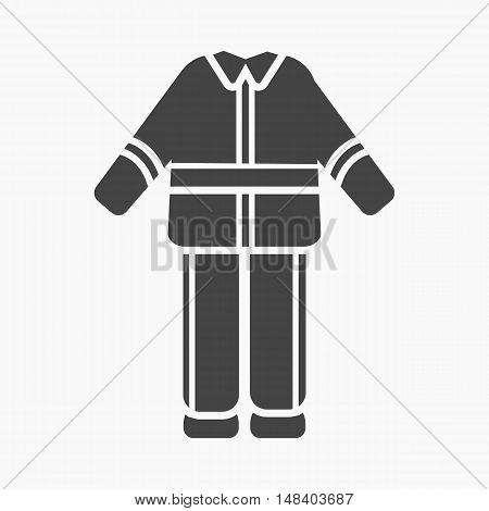 Firefighter uniform icon black style. Single silhouette fire equipment icon from the big fire Department simple.