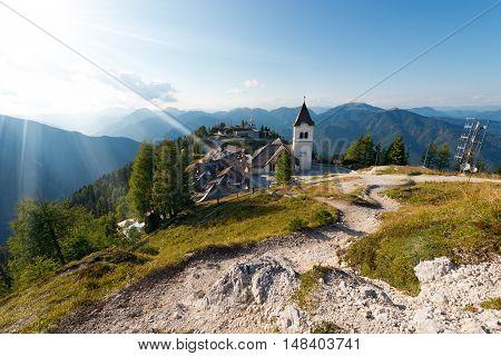 Village of Monte Lussari (1790 m) in the Italian Alps. Tarvisio Friuli Venezia Giulia Italy