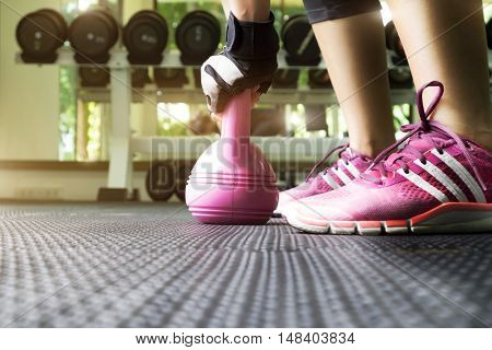 Woman Having Functional Fitness Training With Kettlebell In Sport Gym