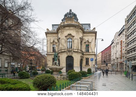 BUDAPEST, HUNGARY - FEBRUARY 21, 2016: Facade of the Metropolitan Ervin Szabo Library is the largest library network in Budapest, Hungary. Built in neo-baroque style.