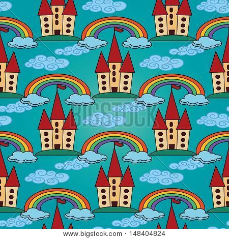 Light blue vector seamless pattern background illustration with fairytale castle, colorful rainbow, blue clouds,