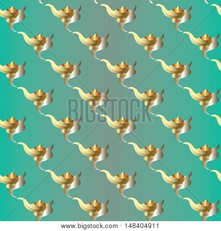 Light green vector seamless pattern background illustration with gold fairytale magic aladdin lamp. Endless texture.