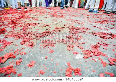 The leavings firecrackers on floor for background