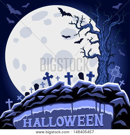 Halloween abstract background with moon and tree on cemetery. Halloween Party design template. Vector