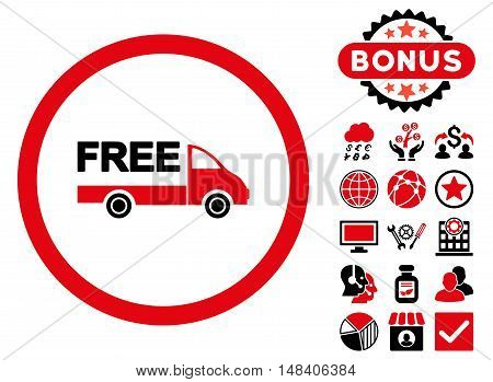Free Delivery icon with bonus pictogram. Vector illustration style is flat iconic bicolor symbols, intensive red and black colors, white background.