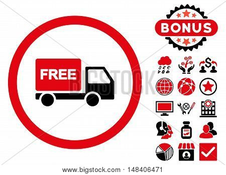 Free Delivery icon with bonus symbols. Vector illustration style is flat iconic bicolor symbols, intensive red and black colors, white background.