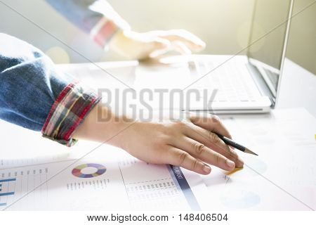 Startup Business Woman Working With Business Documents On Office Table.