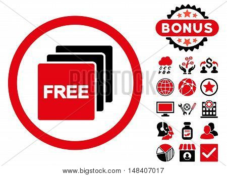 Free icon with bonus pictures. Vector illustration style is flat iconic bicolor symbols, intensive red and black colors, white background.