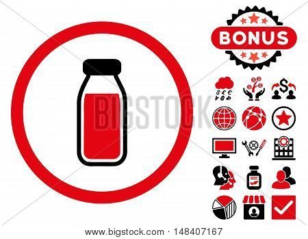 Full Bottle icon with bonus pictures. Vector illustration style is flat iconic bicolor symbols, intensive red and black colors, white background.