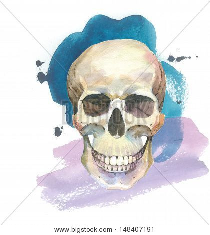 Watercolor tattoo concept with skull element isolated. Tattoo sketch art concept could be used for tattoo, sticker, background, texture, pattern, frame or border.