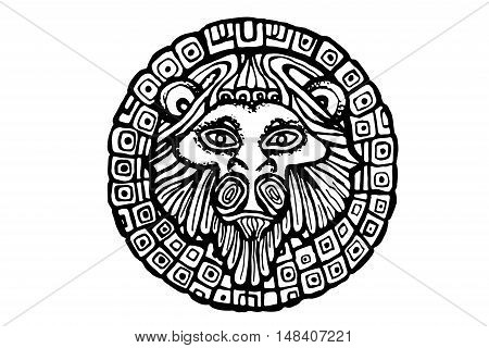 Lion head  isolated on a white background. Vector illustration.