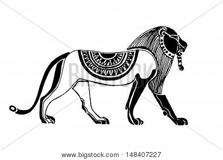 Egyptian beautiful lion  isolated on a white background. Vector illustration.