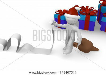 Santa with a long wish list and blue gift boxes 3d rendering