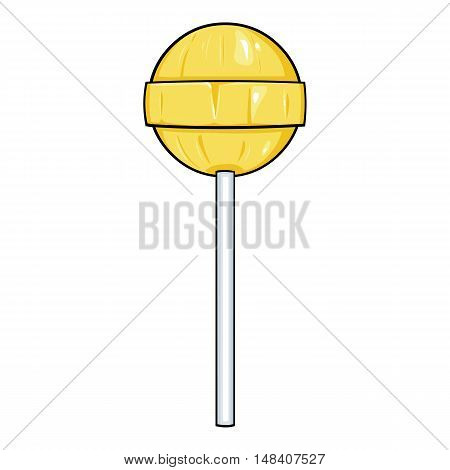 Vector Single Cartoon Yellow Round Lolipop