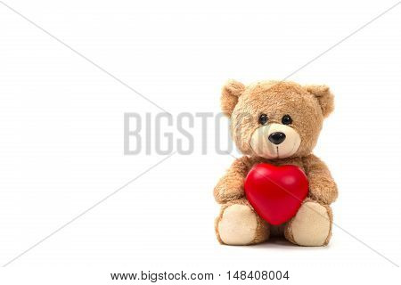 Teddy Bear: Health insurance or love concept on white background