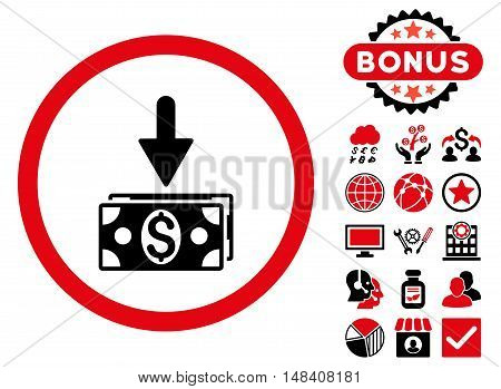 Get Dollar Banknotes icon with bonus design elements. Vector illustration style is flat iconic bicolor symbols, intensive red and black colors, white background.