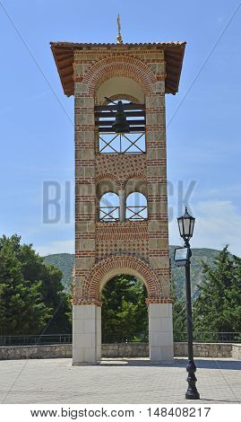 The Belltower next to the Hercegovacka Gracanica Monastery on Crkvina Hill above Trebinje in Bosnia. The monastery was built in 2000 and is an exact copy of the Gracanica Monastery in Kosovo.